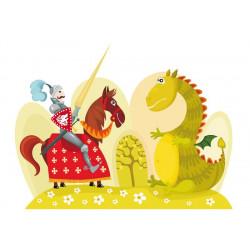 Fototapet - Dragon and knight