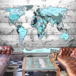 Fototapet - World Map: Blue...