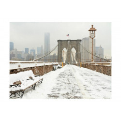 Fototapet - Snedækkede bro...