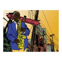Fototapet - Saxophonist in...