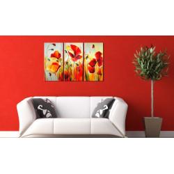 Håndmalet billede - Red meadow
