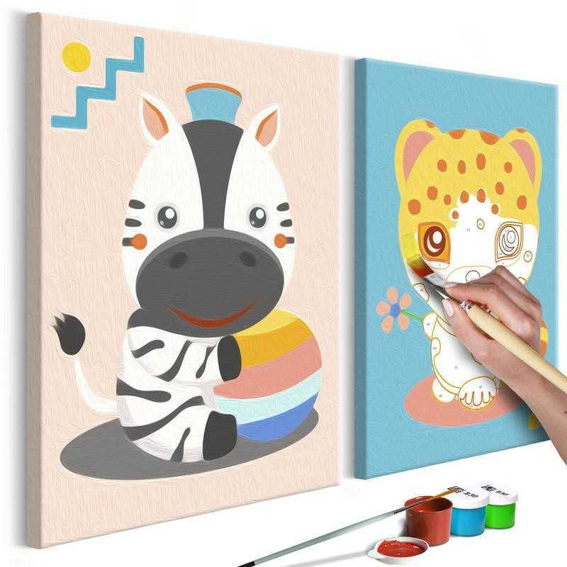 DIY lærred maleri - Zebra & Leopard