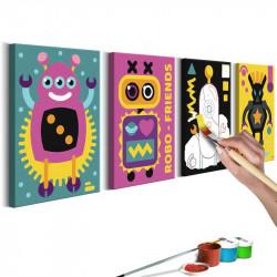 DIY lærred maleri - Robots