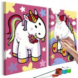 DIY lærred maleri - Unicorns