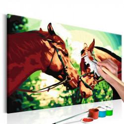 DIY lærred maleri - Two Horses