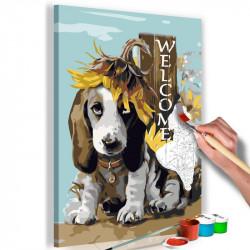 DIY lærred maleri - Dog and...