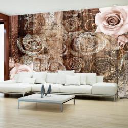 Fototapet - Old Wood & Roses