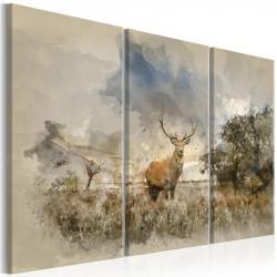 Billede - Deer in the Field I