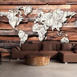 Fototapet - Map On Wood