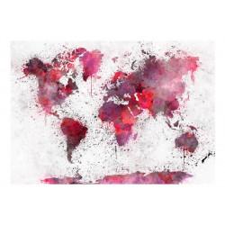 Fototapet - World Map: Red...