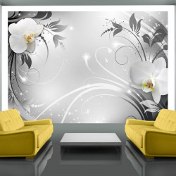 Fototapet - Orchids on silver